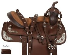 BROWN 14 16 17 18 WESTERN PLEASURE TRAIL BARREL RACING HORSE SADDLE TACK PAD