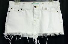 Hollister white distressed denim jean cutoff mini skirt juniors SZ 1