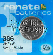 1 pc 386 Renata Watch Batteries SR43W FREE SHIP 0% MERCURY