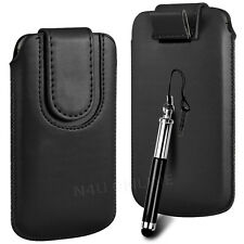 Magnetic PU Leather Pull Tab Flip Case & Stylus For Apple Phones