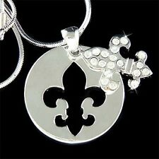 w Swarovski Crystal ~Fleur de Lis~ Dog Tag France Paris Lys Lily Flower Necklace