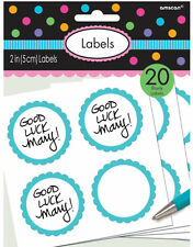 20 x Blue Candy Buffet Scalloped sticky Labels Jam jar loot treat bag stickers