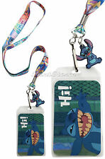 NEW Disney Lilo & Stitch Hawaii Ohana Family HI ID Holder Pin Lanyard W/ Charm