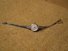 ███►alte Damenarmbanduhr mit 6 Saphire /835er Silber -1960