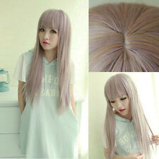 Womens Long Straight Full Wig Pink Ombre Lolita Hair Halloween Party Anime Wig