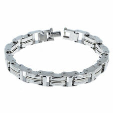 "Wholesale 8.66"" Men's Stainless Steel Silver Link Chain Bracelet Bangle Cuff"