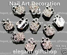10pcs Christmas Gift Box Silver Alloy Jewelry 3D Nail Art Tips Decoration#EA_X41