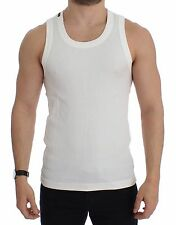 NWT $180 DOLCE & GABBANA White Cotton Sleeveless Tank T-shirt Top s. EU48 / M