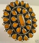 TAXCO MEXICAN STERLING SILVER AMBER BEADED BEAD ADJUSTABLE RING MEXICO