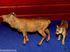Vintage German Lioneol Composition 2 Elastolin Animal Elk, Puma/Lion AT126148E