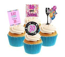 Novelty 30th Birthday PINK Mix 12 Edible Stand Up wafer paper cake toppers party