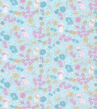 EASTER FABRIC! BY THE HALF YARD! QUILTING! BUNNIES~FLOWERS! PASTELS~PINK~BLUE