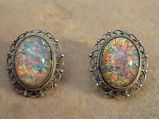 Vintage Mexican Mexico Sterling Silver & Glass Clip-on Earrings