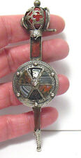 MASSIVE VICTORIAN SCOTTISH STERLING SILVER AGATE PIN KILT PIN SWORD SHAPED