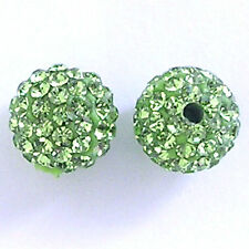 10 Peridot Rhinestone clay pave round 8mm beads for Shamballa Bracelets