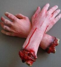 2pcs Severed Cut Off  Bloody Fake Latex Lifesize Arm Hand Scary Halloween Prop