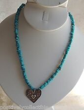 Southwestern Design PEYOTE BIRD Navajo Sterling Heart Turquoise Beaded Necklace