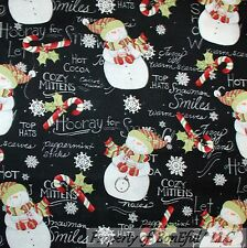 BonEful Fabric FQ Cotton Quilt B&W Red White Snowman Country Xmas Candy Cane Dot