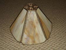 Vintage Victorian Caramel Marble Slag Glass Six Panel Table Lamp Shade, Clean!