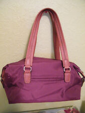 AUTH BOGNER BARREL PURSE,DEEP LAVENDER MICRO FIBER & TAN LEATHER EUC