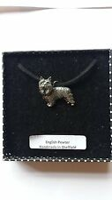 D6 Yorkshire Terrier Motif Pewter  PENDENT ON A  BLACK CORD  Necklace Handmade