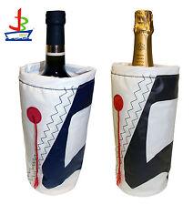 Weinkühler für eine Flasche Wein Sekt Champagner Maritim aus Segeltuch Yacht neu