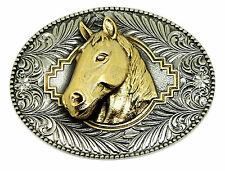 Horse Head Belt Buckle 3D Animal Oval Western Official White Wolf 24ct Gold