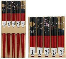 Set of 5 Pairs Bamboo Chopstick Gift Set Japanese Print S-3673