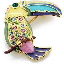 Fantasyard Crystal Enamel Toucan Bird Pin Brooch