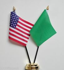 United States of America & Libya 1977 to 2011 Double Friendship Table Flag Set