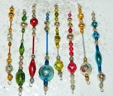 Vintage EX. LONG COLORFUL Mercury Glass Bead Icicle Ornaments Christmas  Feather