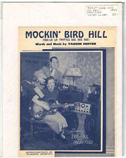 Rare Original Vintage 1949 Les Paul Mockin Bird Hill Piano Sheet Music Print