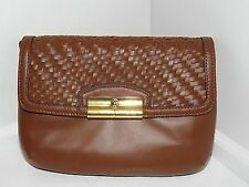 NWT Coach Kristin Woven Leather Flap Crossbody in Saddle: Style #49099