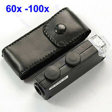 Mini LED Handheld Adjustable 60x 100x Pocket Microscope Magnifer Loupe New