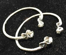 Pair Of Flower Head Handmade West Indian Sterling Silver Bangles - Baby Size