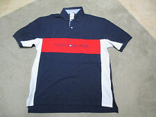 NEW VINTAGE Tommy Hilfiger Spell Out Polo Shirt Adult Extra Large Red Rugby Blue