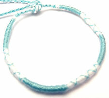Bracelet Brésilien de l' amitié coton Friendship Porte Bonheur blanc bleu blue