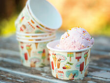 Set of 6 RETRO TREATS 50s Vintage Style ICE CREAM CUPS Tubs