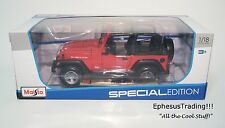 Maisto SE JEEP Wrangler Rubicon 2 Door Open 4.0l Red w/Black 31663 1/18 NEW MINT