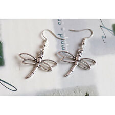 Tibetan Silver Dragonfly Charm Dangle Earrings