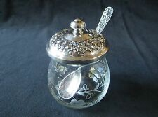 S. Kirk & Son Sterling Repousse Lid & Spoon Etched Glass Jam Jelly Bowl Pot
