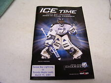 ICE TIME TAMPA BAY LIGHTNING VS TORONTO MAPLE LEAFS MARCH 2001 GAME PROGRAM NHL