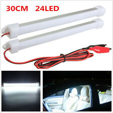 2x white Car SUV LED SMD Interior Light Bar Tube Strip Lamp Van Boat Caravan