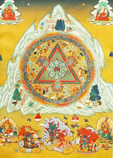 Tibet Buddhism Thangka Printed Buddhist Mandala on Silk Brocade Wood Scroll 13""