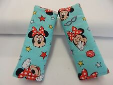 Child Seat Belt Strap Covers Car Chair Stroller - Minnie Mouse Aqua 100% Cotton