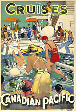 Art Ad Canadian Pacific Cruises Deco  Ship Travel   Poster Print