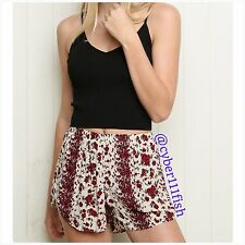 Brandy Melville Red Floral Remi Short NWT #883