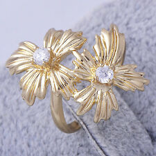 Vintage Womens Yellow Gold Filled Crystal 2 Flower Cocktail Ring Size 7