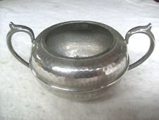 Art Deco 1920s George Lee & Co: Hand Hammered Pewter Sugar Bowl, V.G.Condition