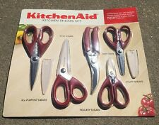 KitchenAid 5 Piece Kitchen and Garden Shear Set w/ Blade Covers - Red NEW